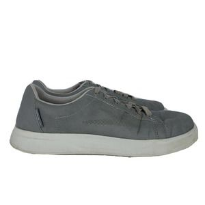 Speedo Mens Grey Faux Leather Lace Up Sneakers Size 10 Athletic Casual Shoes